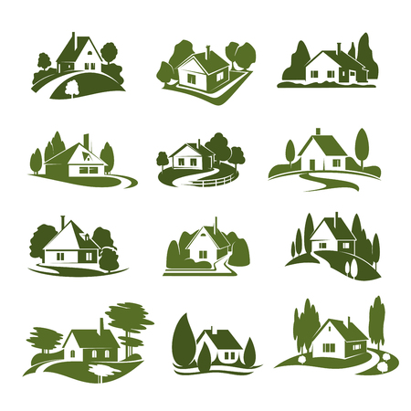 Eco green house icon with tree and lawn. Green cottage silhouette with garden plant, path and driveway, hedge and fence for landscaping service and real estate company emblem or ecology themes design Imagens - 99637142