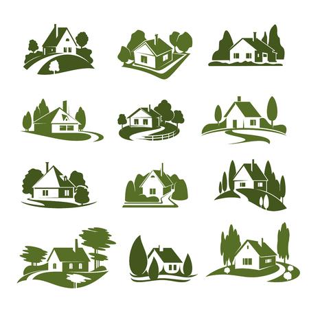 Ikone des grünen Hauses Eco mit Baum und Rasen. Grünes Häuschenschattenbild mit Gartenpflanze, Weg und Fahrstraße, Hecke und Zaun für Landschaftsgestaltungsservice und Immobilienfirmenemblem oder Ökologiethemadesign Standard-Bild - 99637142