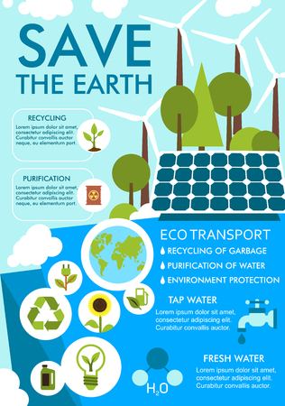 Save Earth banner for ecology environment design