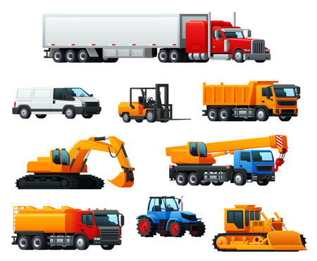 Road transport, heavy machinery and vehicle icon Illustration