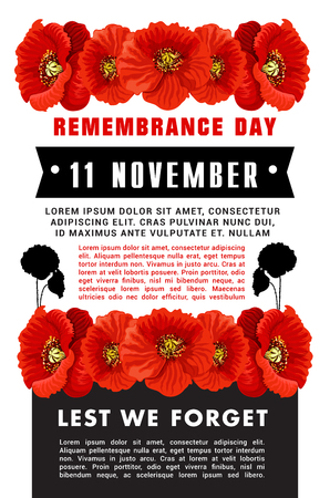Creative vector poster for Remembrance day. Banner with red poppies isolated on white background. Lest we forget concept. Design in tragic colors black, red and white for 11 of November