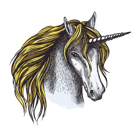 金のたてがみとねじれた角を持つ魔法の動物の頭のユニコーン馬のスケッチ。入れ墨、おとぎ話のキャラクターと中世の紋章のデザインのための神