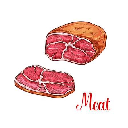 Meat brisket with slice sketch of fresh farm product. Smoked beef brisket or barbecued pork butt isolated icon for restaurant grill menu, meat store or butcher shop design Illustration