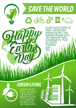 Happy Earth Day banner with green energy, recycle and eco transport sign. Planet globe with green tree, leaf and grass, wind turbine and eco city for ecology and environment protection holiday design