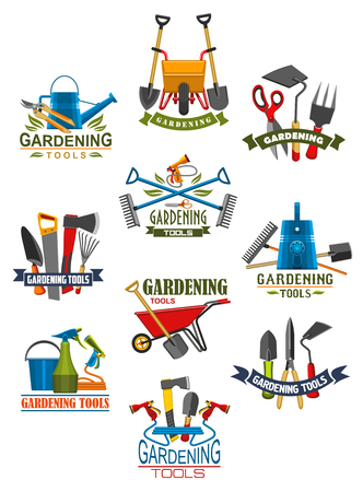 Gardening tool and garden equipment isolated icon