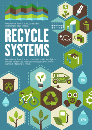 Recycle poster with ecology and green energy icon