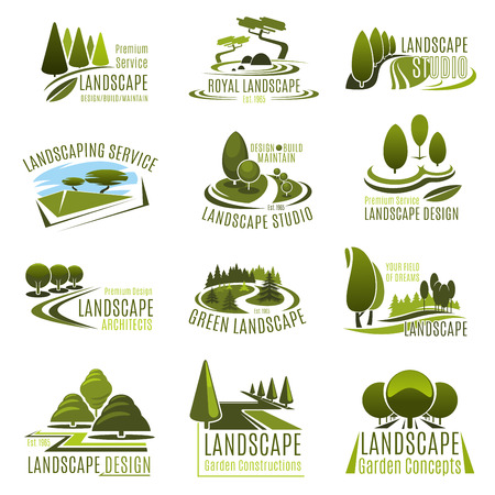 Conjunto de iconos de estudio de diseño de paisaje. Emblema de la empresa de servicios de jardinería y paisajismo con árbol verde de parque de verano, planta decorativa de parque ecológico, césped de jardín y callejón para diseño de arquitectura de paisaje