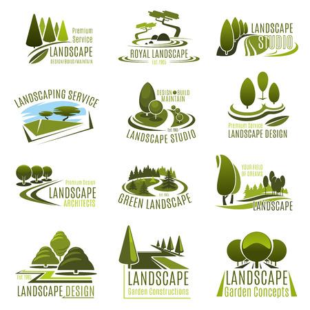 Zestaw ikon studio projektowania krajobrazu. Godło firmy świadczącej usługi ogrodnicze i ogrodnicze z letnim zielonym drzewem w parku, rośliną dekoracyjną w parku ekologicznym, trawnikiem ogrodowym i aleją do projektowania architektury krajobrazu
