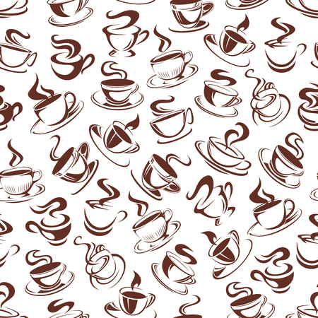 Vector coffee cups pattern seamless background