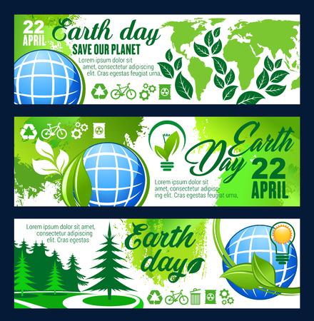 Planeet banner opslaan voor Earth Day 22 april viering sjabloon. Blauwe bol met eco groene boom plant en blad, groene energie, recycle en eco transport teken voor ecologie of milieubescherming ontwerp