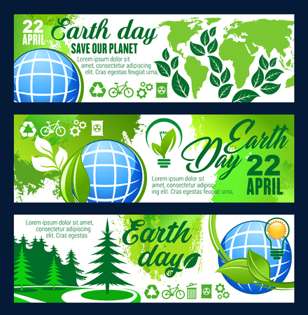 Save Planet banner for Earth Day 22 April celebration template. Blue globe with eco green tree plant and leaf, green energy, recycle and eco transport sign for ecology or environment protection design Stock Illustratie