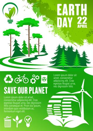 Earth Day-banner voor Save Our Planet-concept. Groene boom en plant grunge poster met recycle symbool, windturbine en biobrandstof, groene energie en eco transport teken voor ecologie bescherming thema's ontwerp