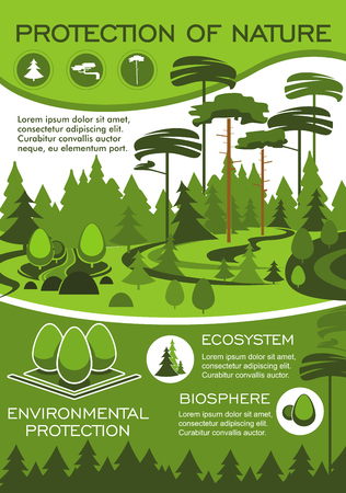 エコロジーと天然資源保全のための緑の自然と環境保護ポスター。環境にやさしい技術と持続可能な開発設計のための緑の木を持つ森林生態系バナ