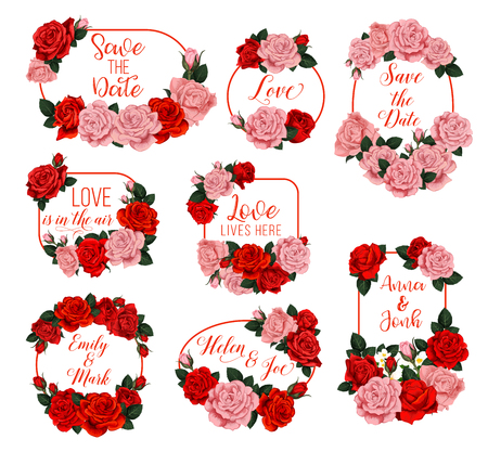 Flowers frames and wreath icons for Save the Date wedding invitation or springtime seasonal greeting card. Vector love is here quotes and bride or bridegroom names in of flourish blooming spring roses