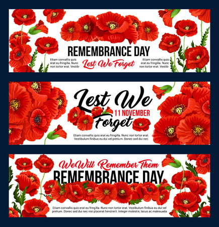 Remembrance Day Lest we Forget 11 November greeting banners of poppy flowers. Vector design for Anzac Australian, Canadian and Commonwealth armistice commemoration and freedom remembrance day