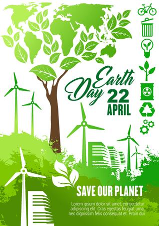 Earth Day viering banner voor ecologie en milieu bescherming thema's ontwerp. Eco technologieën poster met wereldkaart, groene boom en windturbine boerderij, recyclen, eco transport en biobrandstof symbool