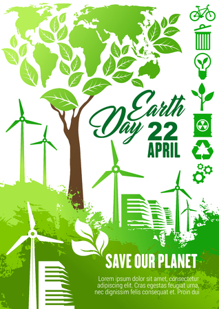 Earth Day celebration banner for ecology and environment protection themes design. Eco technologies poster with world map, green tree and wind turbine farm, recycle, eco transport and biofuel symbol Illustration