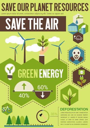 Sparen planeet middelen platte banner met groene energie, recycle en eco transport symbool. Natuur ecologie behoud en bescherming van het milieu concept met windturbine, zonnepaneel en groene boom teken