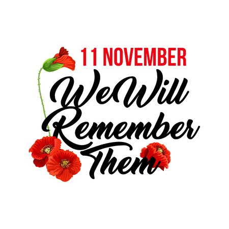 Creative design for Remembrance day 11 November. Vector with red poppies isolated on white background. Veterans day and tribute for soldiers concept. Poster or greeting card for Remembrance day