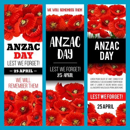 Poppy flower banner for Anzac Remembrance Day 矢量图像