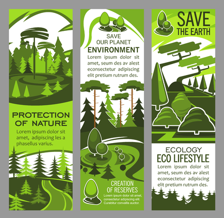 Environment and ecology protection banner with eco green nature landscape. Forest tree plant with green leaf on grass glade poster design for nature conservation, Save Earth or eco lifestyle design