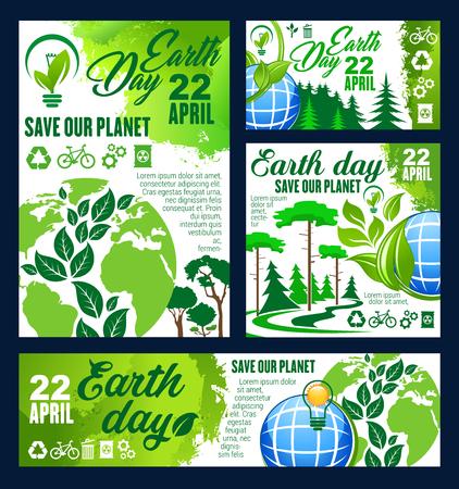 Banner de saludo del Día de la Tierra de conservación ecológica Foto de archivo - 99727420
