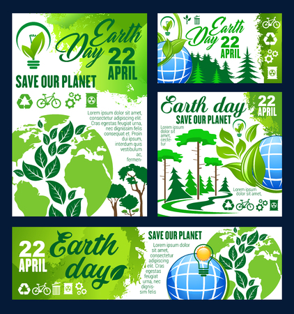 Earth Day greeting banner of ecology conservation Illustration