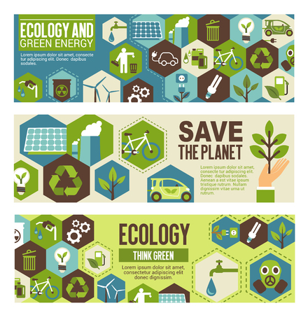 Ecology and green energy eco banner template. Word environment protection concept poster with flat symbol of recycle, wind turbine and solar panel, green tree plant, eco transport and water saving Illustration