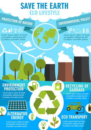 Save Earth Ecology poster for eco friendly lifestyle themes design. World environment protection flat banner of green energy, recycle and eco transport with wind turbine, solar panel and bio fuel sign Illustration