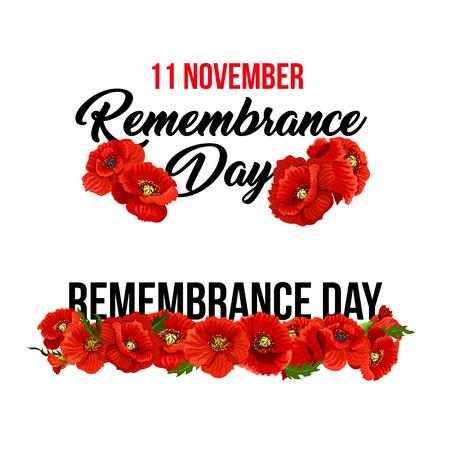 Mohnblumenikonen stellten für 11. November Erinnerungs-Tagesgrußkartenauslegung ein. Vector rote Mohnblumensymbole und -fahnen für Weltfreiheitsdenkmal erinnern Sie sich an Anzac- und Commonwealth-Veteranen Vektorgrafik
