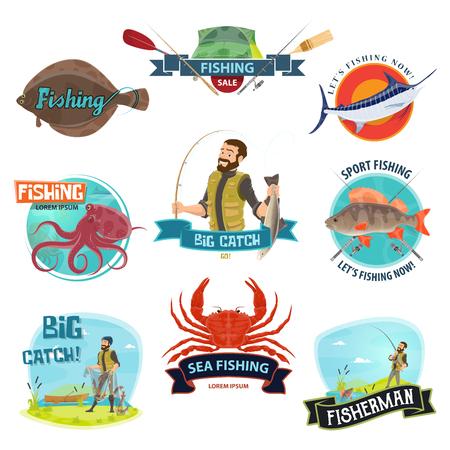 Vector fisherman sport fishing icons