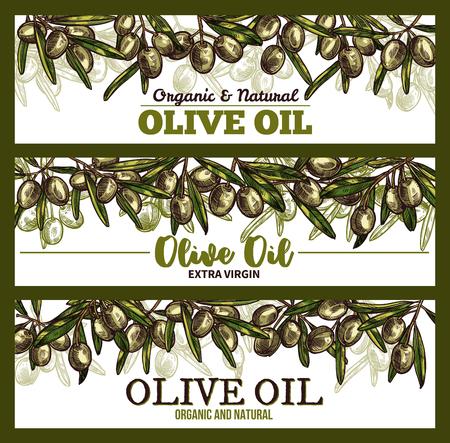 Vector extra vrigin olive oil sketch banners Ilustração