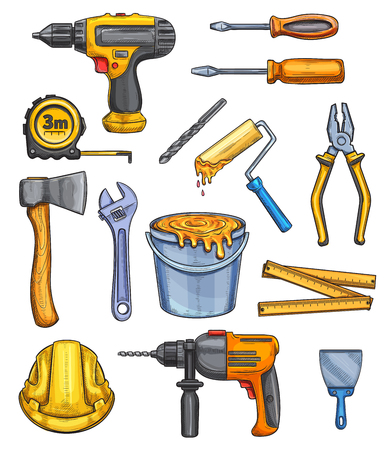 Construction work tools color sketch icons. Vector isolated building, carpentry and painting tool of electric drill, ax or tape-measure, screwdriver and pliers or nippers, paintbrush and safety helmet