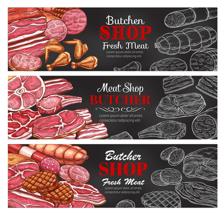 Vector sketch meat sausages butcher products icons