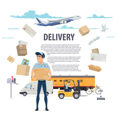 Post mail delivery and postman vector poster Stock fotó - 100029609