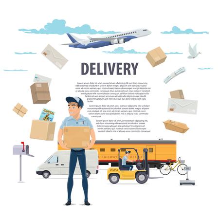 Post postbezorging en postbode vector poster Vector Illustratie