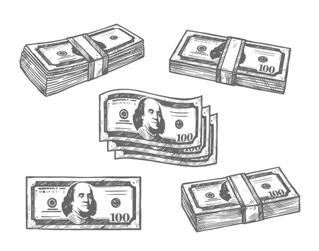100 dollar banknotes bundles vector sketch icons