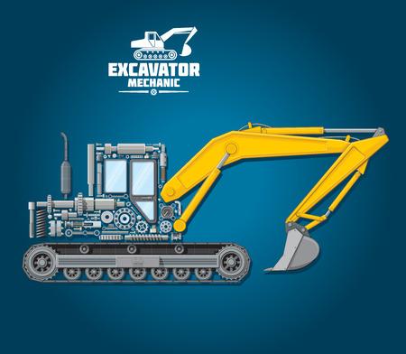 Vector poster of excavator mechanic details