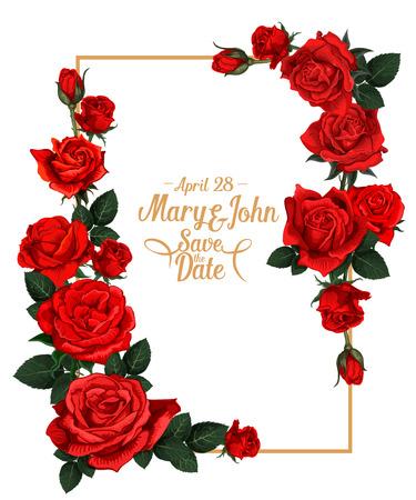 Vector floral wedding picture frame Illustration
