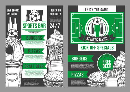 Vector soccer sports bar football pub menu design