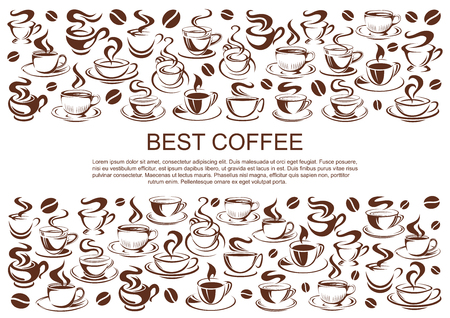 Vector coffeehouse cafe poster of coffee cups Illustration