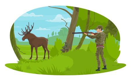Vector hunter and hunt for elk flat design Illustration