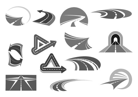 Vector icons of roads tunnels and highway signs Stock Illustratie
