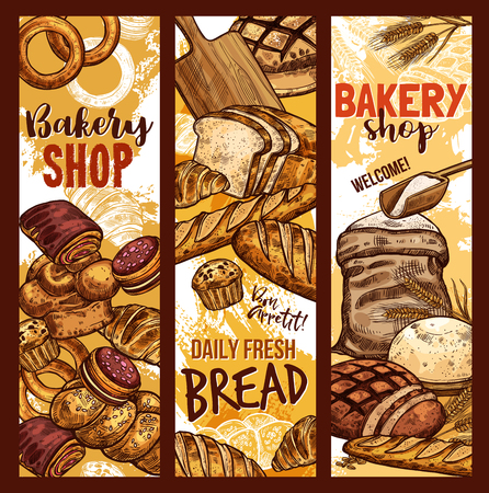 Bakery shop sketch banners of baked bread, flour sack bag and sweet desserts. Vector design template of baker store wheat loaf and rye bagel or chocolate croissant, baguette and toast for breakfast Banque d'images - 100026979