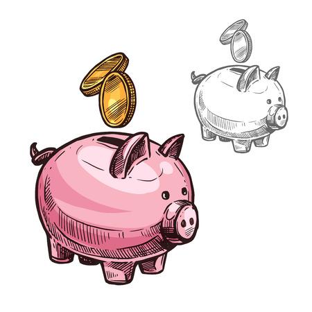 Vector sketch piggy bank and golden coins icon