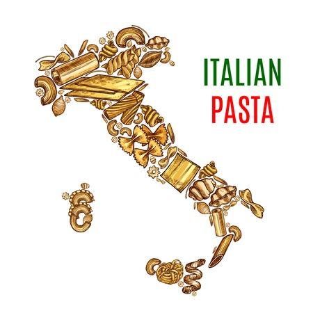Vector Italian map pasta sketch poster