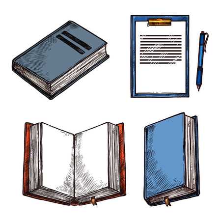 Vector sketch old vintage books abd notepad icons Illustration