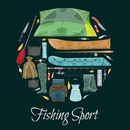 Fishing sport poster of fisherman equipment. Vector flat design of fisher tackles for fish and seafood catch of fishing rod, wader boots or boat and paddle, rucksack or tent and bowler fishing Illustration