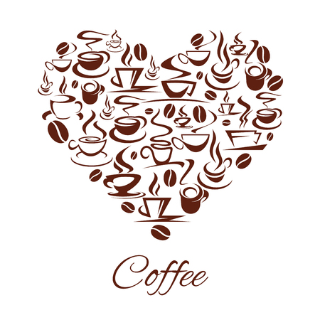 Coffeehouse heart poster of coffee cups and stem for cafe or cafeteria and coffeeshop. Vector design of coffee beans icons or steamy tea mugs of americano, espresso or latte and cappuccino frappe