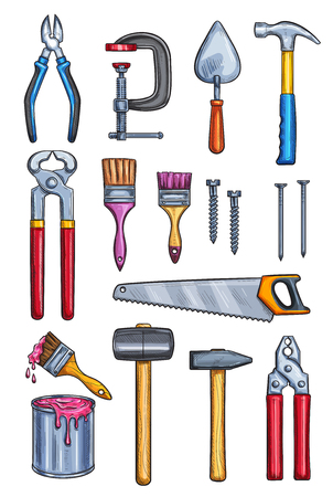 Work tools color sketch icons. Vector isolated set pliers, vise or cutter and saw, paint brush or hammer or nail puller and screwdriver with nails for construction, building carpentry and home repair Illustration